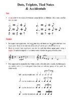 Lesson 4 Handout 1 Dotted Notes, Triplets, Tied Notes & Accidentals